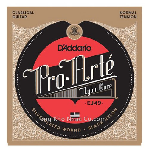 Dây Đàn Classic Guitar D'Addario EJ49 - Nylon Core - Silverplated Wound - Black
