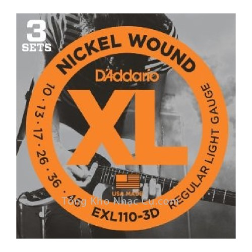3 bộ - Dây Đàn Electric Guitar D'Addario EXL110-3D - Nickel Wound - Regular Light Gauged