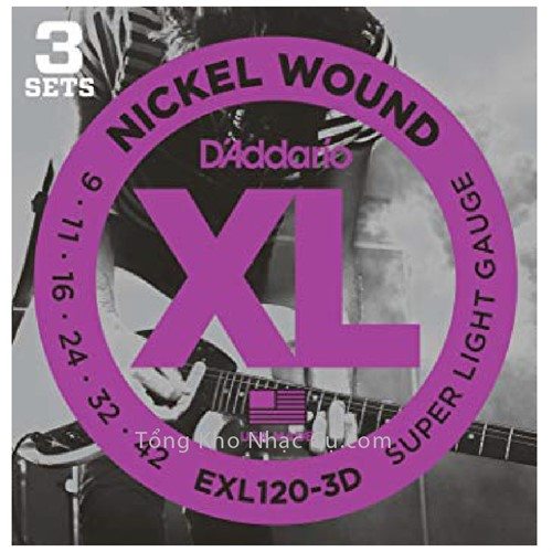 3 bộ - Dây Đàn Electric Guitar D'Addario EXL120-3D - Nickel Wound - Super Light Gauge