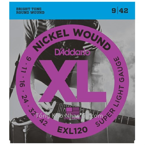 Dây Đàn Electric Guitar D'Addario EXL120 - Nickel Wound - Super Light Gauge