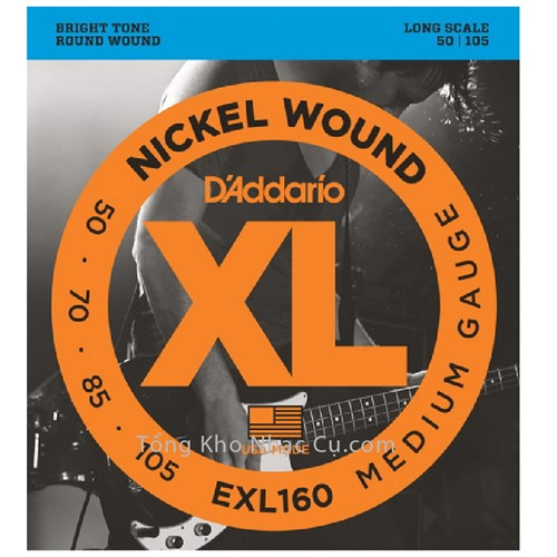 Dây Đàn Bass Guitar D'Addario EXL160 (4 dây) - Nickel Wound - Medium Gauge
