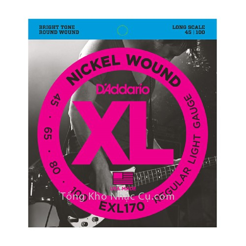 Dây Đàn Bass Guitar D'Addario EXL170 (4 dây) - Nickel Wound - Regular Light Gauge