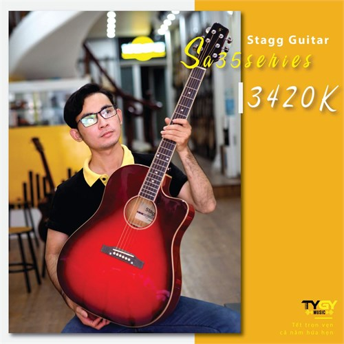 Đàn Guitar Acoustic Stagg SA35 DSTR EQ
