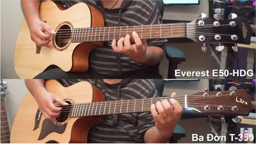Review Guitar Acoustic Everest E50-HDG (4tr) vs Ba Đờn T350 (3tr500k)