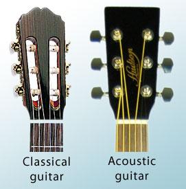 Đầu đàn Guitar Acoustic vs Classic
